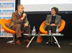 Юрій Макаров та Марі Мендрас під час дебатів на Сцені Авторів